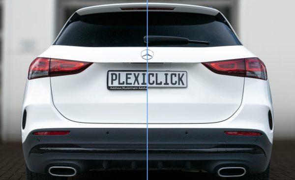 Plexiclick láthatatlan keret nélküli rendszámtartó